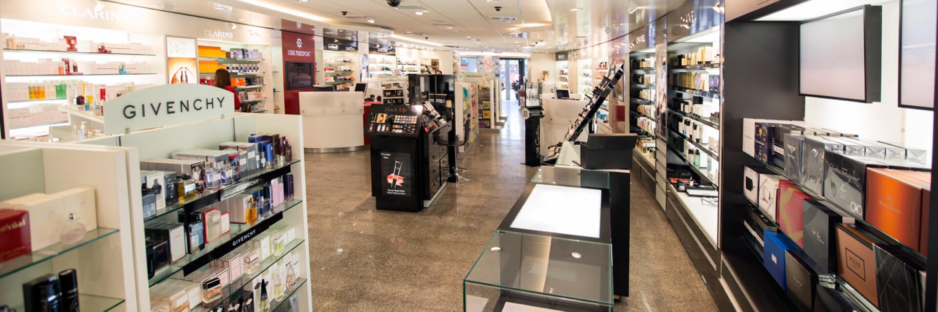 Kirk Freeport presents La Parfumerie Duty-free beauty retailer on Cardinal Avenue, George Town in the Grand Cayman Islands